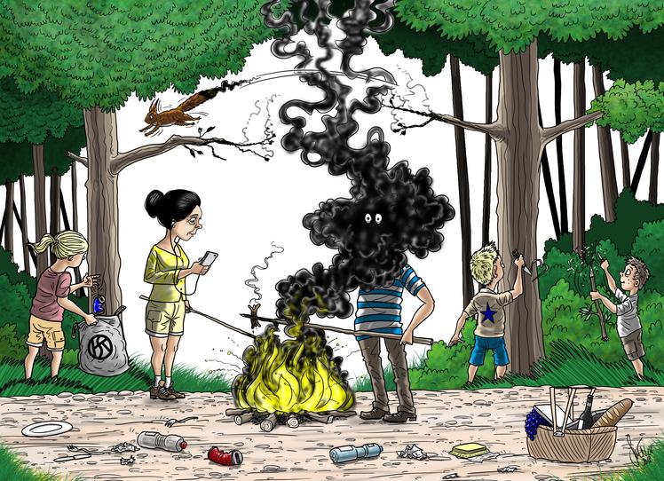 Grillieren Sie die Wurst nicht den Wald!